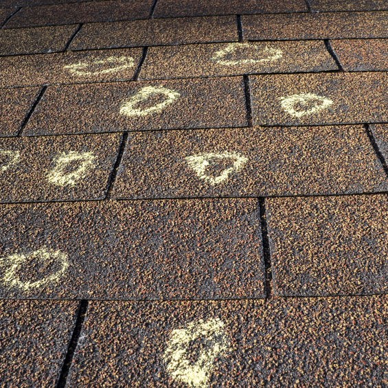 chalk circles on a roof