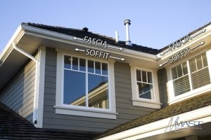 Image of a House with the Fascia and Soffits Labeled